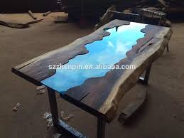 live edge table with turquoise inlay live edge glass inlay solid wood slab dining table glass inlay