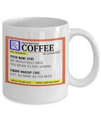 coffee prescription label funny coffee mug breakfast gift