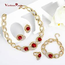 gold plated necklace wholesale images Westernrain crystal jewelry set wholesale gold plated jewelry set jpg