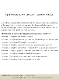 Sample Of Administrative Assistant Resume Top8buyersadminassistantresumesamples 150512234823 Lva1 App6892 Thumbnail 4 Jpg Cb U003d1431474551