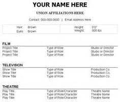 Theater Resume Sample by Theatre Resume Template Word Free Construction Bid Template