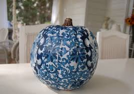 decoupage a pumpkin to coordinate with a room u0027s design or deccor
