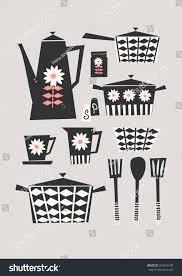 midcentury style illustration set kitchen items stock vector
