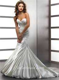 Wedding Dresses With Bows Trumpet Mermaid Sweetheart Ivory Satin Wedding Dress With Crystal