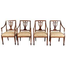dining room chair upholstery fabric set of four 18th century french chairs regency traditional