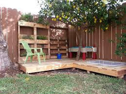 Patio Furniture Made Out Of Pallets by A Kid U0027s Deck Made From Recycled Shipping Pallets With A Sand Box