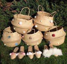 Beach Basket White And Cream Collabsable Beach Basket Home Storage Garmentory
