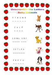 english teaching worksheets baby animals