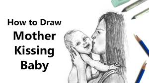 how to draw mother kissing baby with pencil time lapse youtube