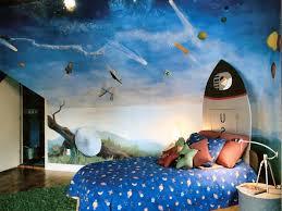 Laminate Flooring Blue Furniture Space Outer Theme Kids Room Design Idea