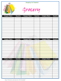 customizable grocery list template 1028