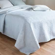 Cotton Quilted Bedspread Solena Blue Cotton Quilted Bedspread 180 X 240 Cm Maisons Du Monde