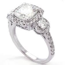 Vintage Style Cushion Cut Engagement Rings Mm Cushion Cut Three Stone Antique Style Moissanite U0026 Diamond