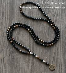 mens rosary men necklace steunk 6mm black onyx bronzite with tree pendant