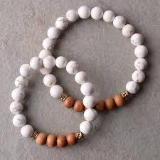 bead bracelet set images Mommy and me sandalwood and white beaded bracelet set bohindi JPG