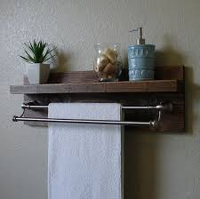 Brushed Nickel Bathroom Shelves Modern Rustic 2 Tier Bathroom Wall Shelf Rustic Bathrooms