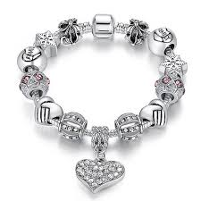charm bracelet online images Luxury brand women bracelet silver plated crystal charm bracelet jpg