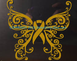 copd ribbon metallic gold awareness ribbon heart scroll window decal
