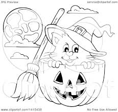 black and white halloween pumpkin clipart clipart of a cute black and white lineart halloween witch cat in a
