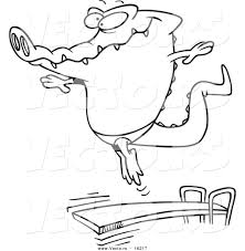 vector of a cartoon gator bouncing off a diving board outlined
