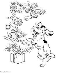 presents dog christmas coloring pages