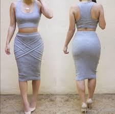 womens crop top midi skirt two piece bodycon bandage dress
