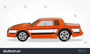 cartoon sports car black and white detailed side flat orange car white stock vector 485282017
