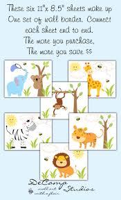 jungle zoo animals wallpaper wall art border decals boy nursery