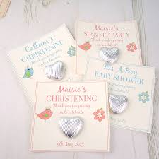 christening baby shower gift favours by tailored chocolates and
