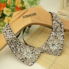 accessories collar necklace images Fashion wild retro beaded sequins rhinestones lace collar spring jpg