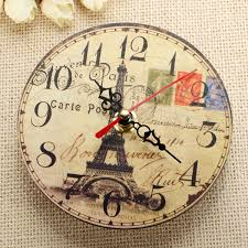Eiffel Tower Accessories Vintage Wooden Eiffel Tower Wall Clock Home Wall Bar Cafe