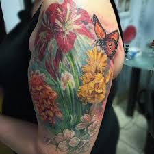 butterfly with flower sleeve butterfly sleeve tattoos