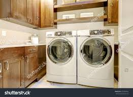 white brown laundry room features modern stock photo 555354592