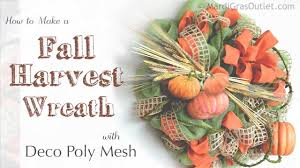 How To Make Halloween Wreath With Mesh by How To Make A Fall Harvest Wreath With Deco Mesh Youtube