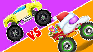 monster truck racing video santa monster truck vs monster truck monster trucks race youtube