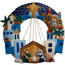 town of bethlehem wreath felt applique kit christmas crafts