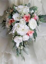 wedding flowers eucalyptus teardrop cascade bridal bouquet wedding flowers artificial