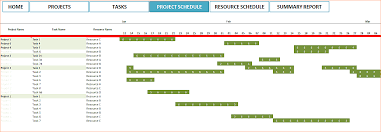 Project Schedule Template Excel 7 Project Schedule Template Excel Ganttchart Resource And Summary