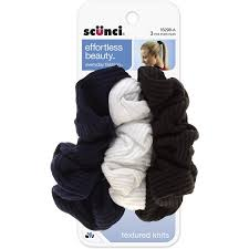 scunci twist scunci effortless beauty basic ruffle ribbed twist scrunchies 3 ea