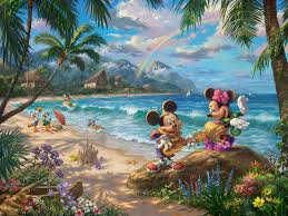 mickey u0026 minnie in hawaii paintings u0026 art thomas kinkade