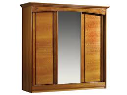 chambre a coucher porte coulissante armoire 3 portes miroir central louisiane merisier meubles minet