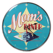 mom u0027s diner open 24 hours wall clock kitchen clocks