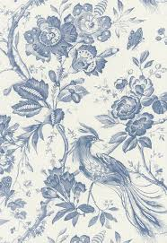 fabric birds of paradise in blue schumacher wallpapers