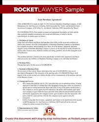 asset purchase agreement template rocket lawyer