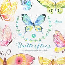 Wedding Greeting Cards Quotes Butterflies Watercolor 9 Separate Hand Painted Clipart Diy
