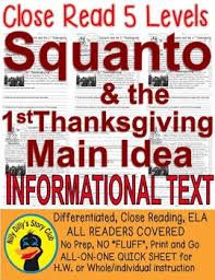 squanto the 1st thanksgiving read 5 level passage