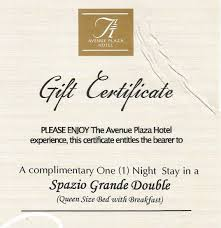 hotel gift certificates avenue plaza hotel gc giveaway philippine contests and promos