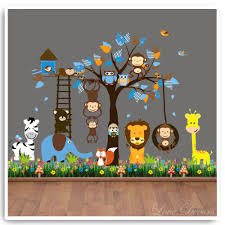 nursery animal wall stickers animals with tree owl animal monkey wall stickers zoo jungle tree nursery baby bedroom decals pinterest boy