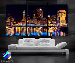 Home Decor Stores Columbus Ohio Large 30x 60 3 Panels Art Canvas Print Columbus