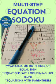multi step equation sudoku game combining like terms solving
